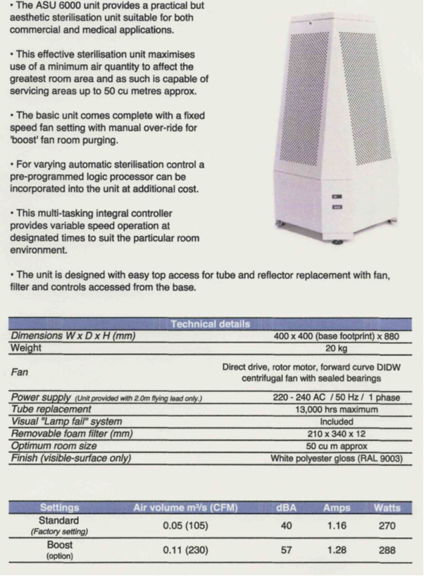 Figure 2: Technical data on the Mansfield Pollard mobile air cleaner which is currently on show in entrance area of One Birdcage Walk.