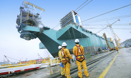 Coming together: Petronas' FLNG Satu is a gigantic 380m in length