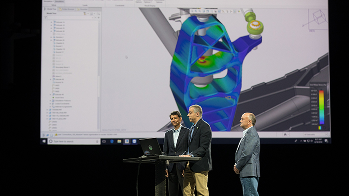 A PTC engineer demonstrates the CAD-simulation tool at LiveWorx (Credit: PTC)
