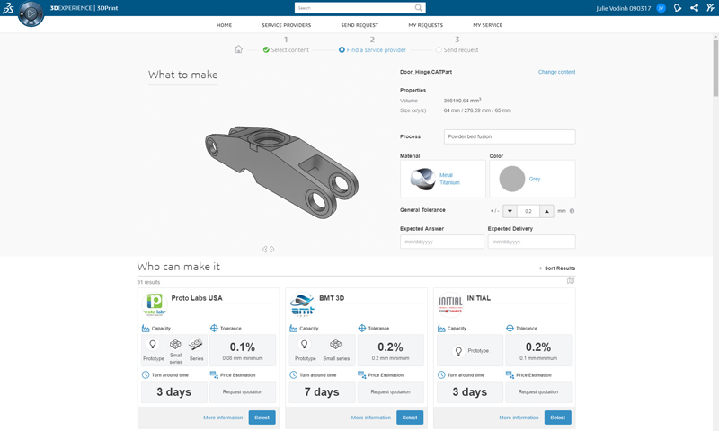 Screenshot of the request specification page in Marketplace, where a buyer specifies what he/she wants to make, and selects a service provider to work with (Credit: Dassault Systemes)