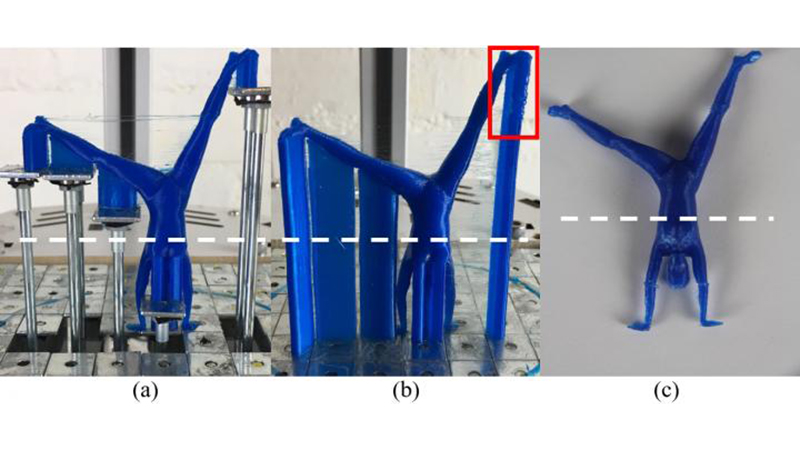 The dynamically controlled surfaces (a) reduce the need for printed supports (b) to cut waste material (Credit: Yong Chen)