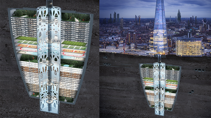 An 'earthscraper' beneath the Shard in London, as imagined in the Samsung KX50 report (Credit: Samsung/ TaylorHerring)