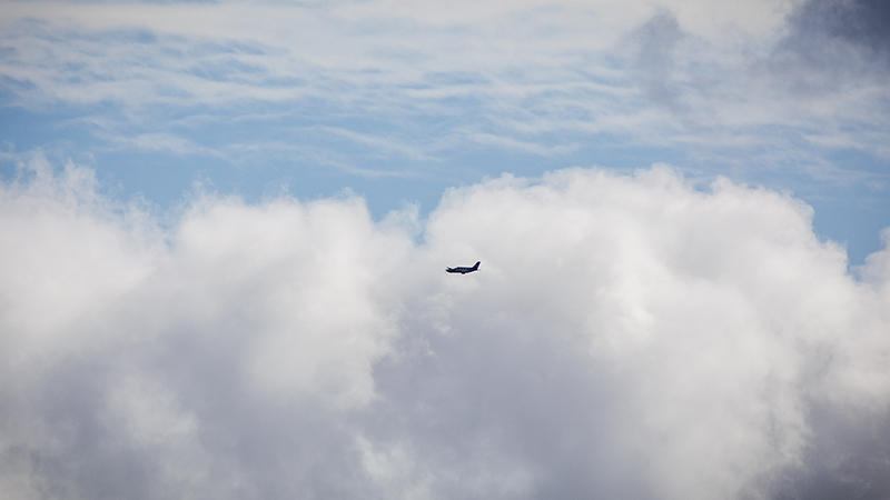 The converted Piper M-class hydrogen plane from ZeroAvia flies over Cranfield Airport in September