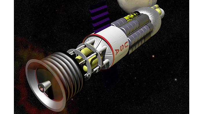 A concept for a pulsed nuclear fission propulsion system, part of the US Project Orion