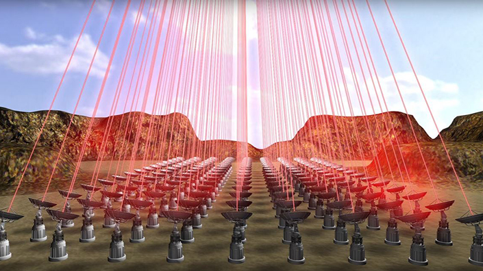 A laser array on Earth would fire together to create a powerful beam...