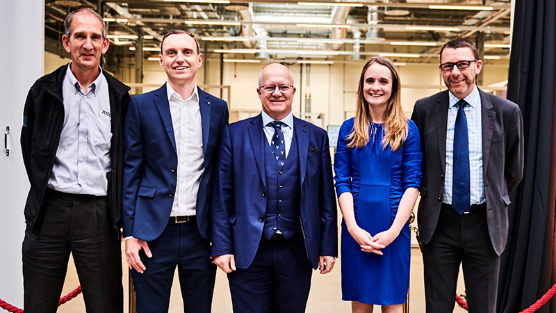 The new additive manufacturing facility opened at the MTC in Coventry yesterday. L–R: Ken Young, MTC, Ross Trepleton, MTC, Simon Weeks, Aerospace Technology Institute, Dr Katy Milne, MTC and Neil Mantle, Rolls-Royce