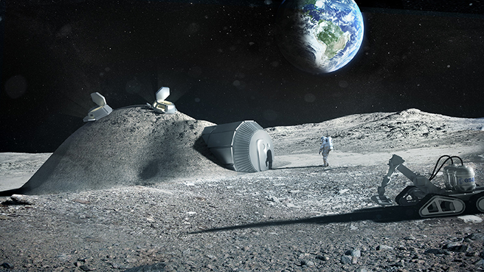 How a lunar base could look (Credit: ESA, Foster + Partners)