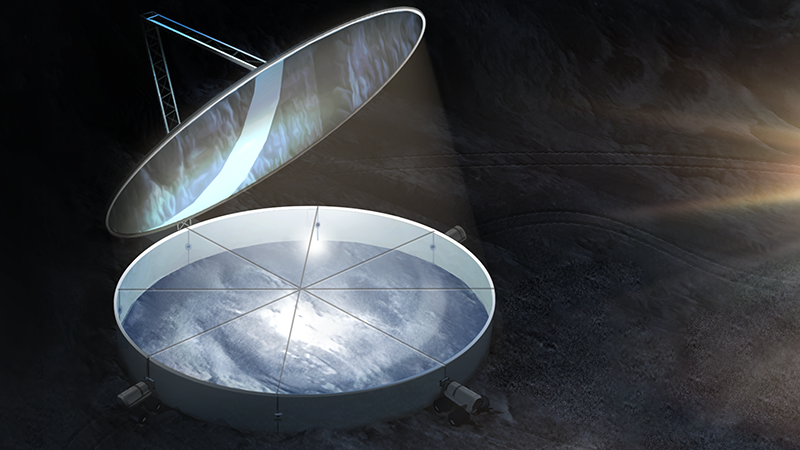 George Sowers' ingenious concept reflects sunlight onto the lunar surface to melt ice trapped in the ground. It is just one of a series of innovative projects aiming to harvest useful resources on the Moon (Credit: George Sowers and Matt Olson)