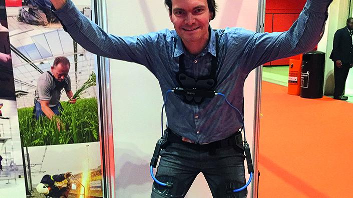 Bo Wisse in his Laevo exoskeleton