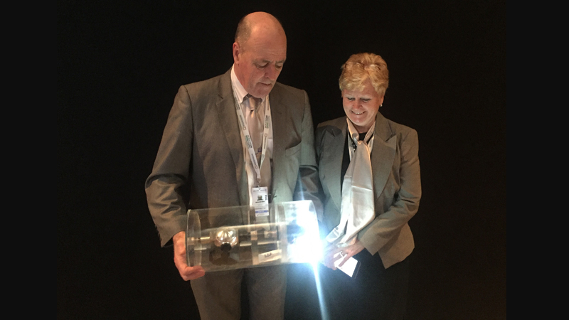 Mairi and Martin Wickett with their patented Whatever Input to Torsion Transfer (Witt) device powering a light