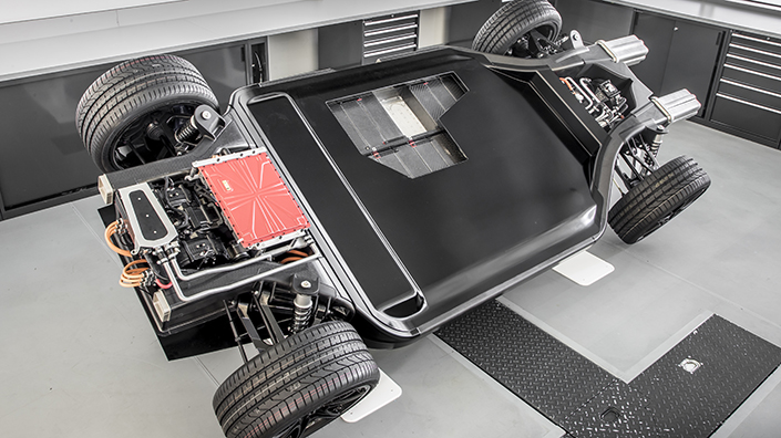 The FW-EVX electric car platform includes crash-resistant folded carbon fibre (Credit: WAE)