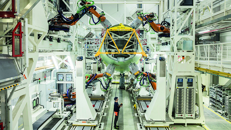 The Airbus A320 automated fuselage assembly line in Hamburg