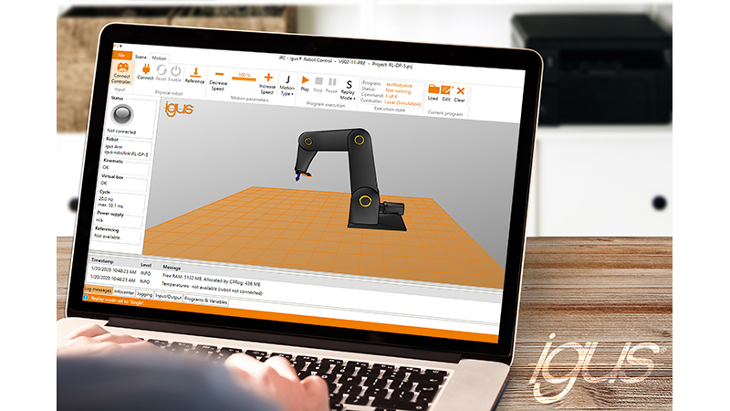 With the free igus robot control software, engineers can simulate, program, and control their dream robot