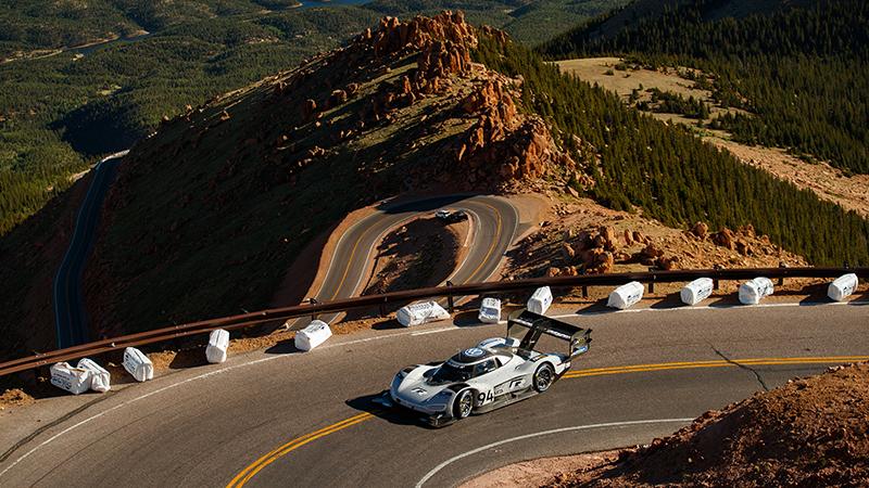 The Volkswagen ID R prototype ascends Pikes Peak