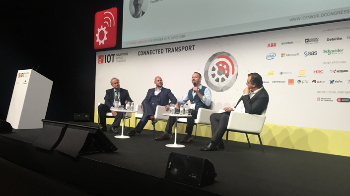 Pietro Biasci, Tim Paridaens, Gilad Rosner and Teppo Rantanen at the IoT Solutions World Congress