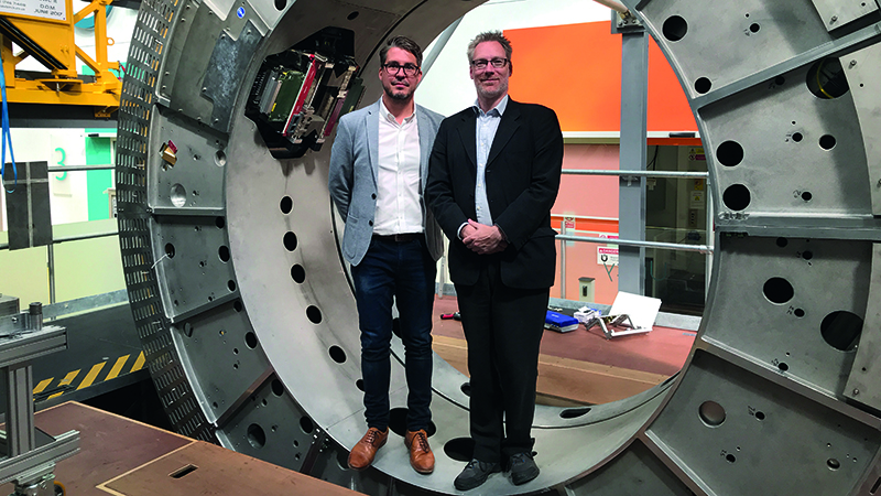 Elekta's Philip Arber and Duncan Bourne show off the groundbreaking Unity device and the engineering 'playground' at their company