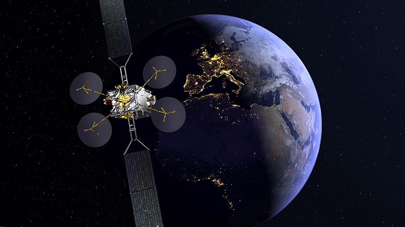 A concept image showing the Konnect satellite in orbit (Credit: Thales Alenia Space)