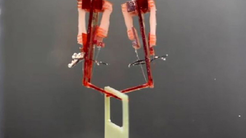 Two of the robotic joints lift a square frame (Credit: Morimoto, Onoe, Takeuchi, Sci. Robot. 3, eaat4440 (2018))