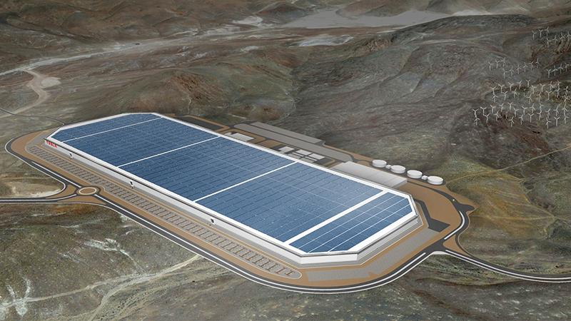 A concept image of a Tesla Gigafactory (Credit: Tesla)