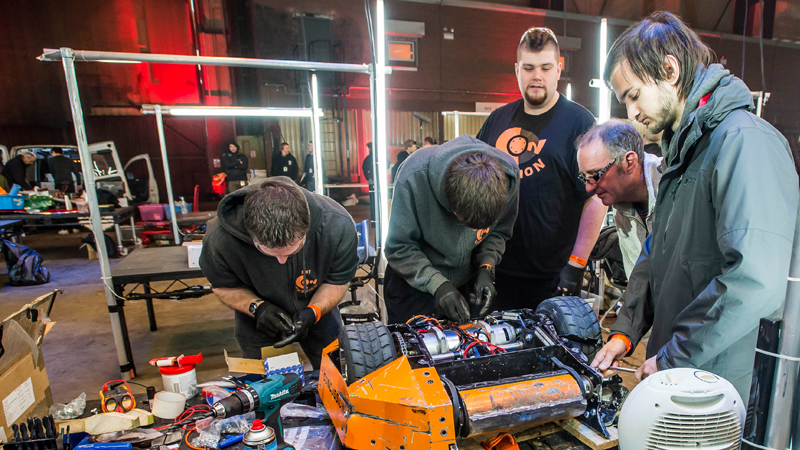Team Concussion race against time to rebuild their robot (Image credits: BBC/Mentorn Media Scotland/Alan Peebles)