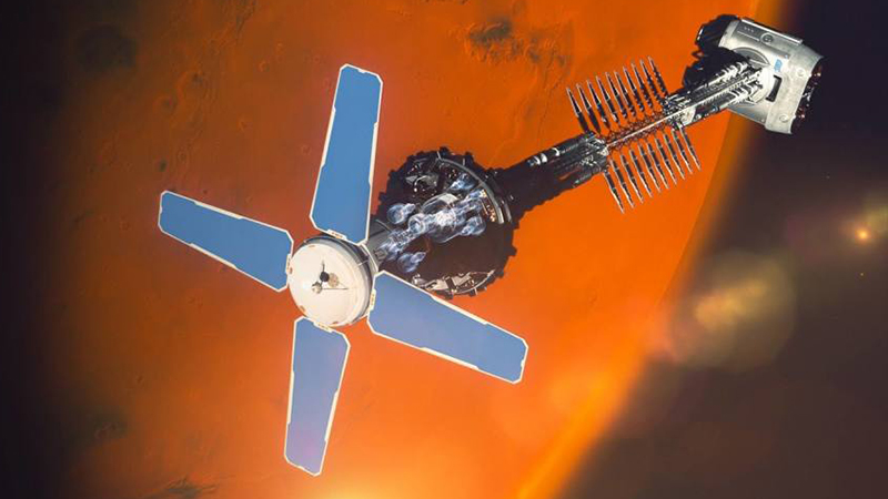 How a nuclear-powered craft could look in orbit around Mars (Credit: Rolls-Royce)