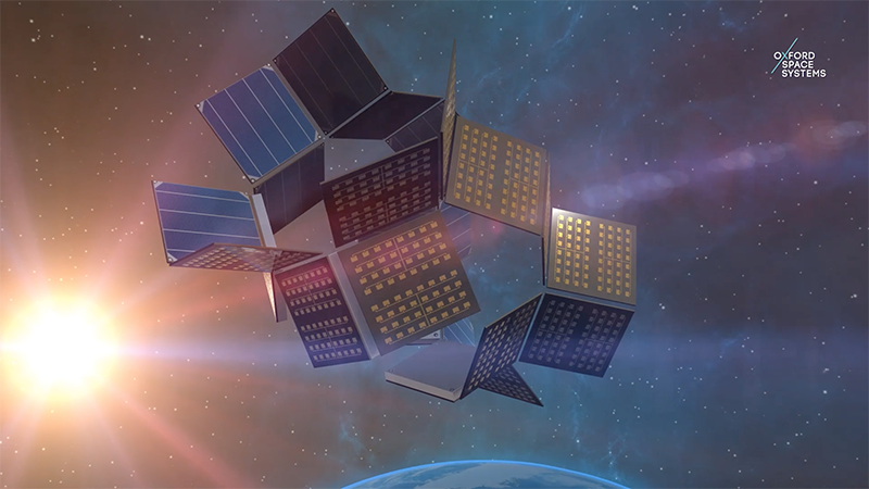 A screenshot of an Oxford Space Systems video shows the OrigamiSat unfolding in orbit (Credit: Oxford Space Systems)
