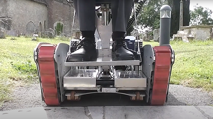 The tank-style tracks help the mobility vehicle tackle steep terrain