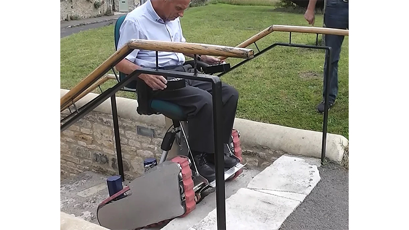 The Igan electric wheelchair can climb and descend stairs and other steep surfaces