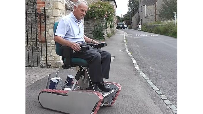 John Ross demonstrates the vehicle