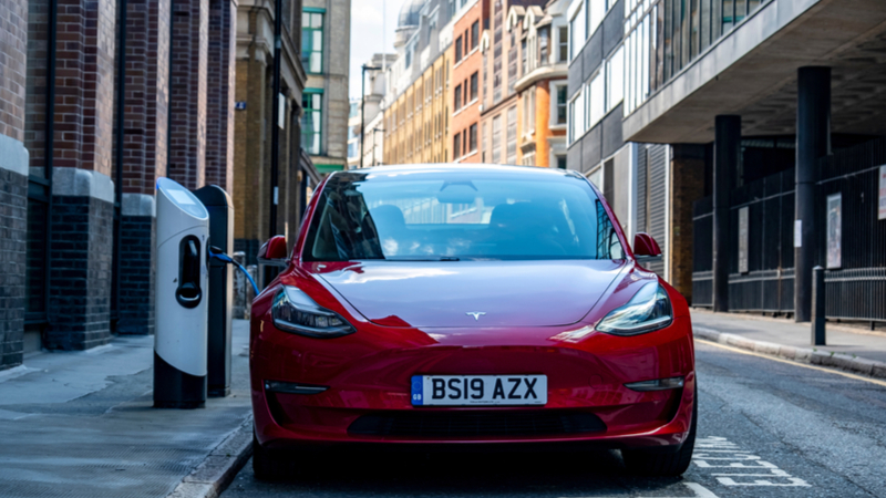 A Tesla Model 3 charges in London (Credit: Shutterstock)