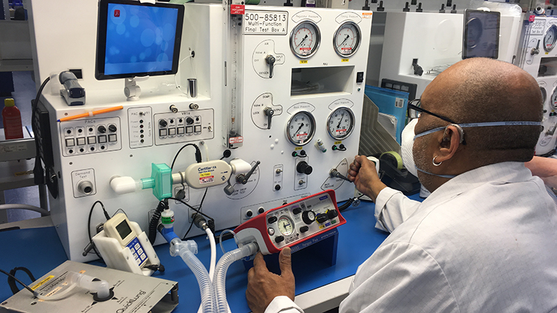 Testing of a Smiths Group ventilator (front, centre), which are being manufactured as part of the Ventilator Challenge UK (Credit: Smiths Group)