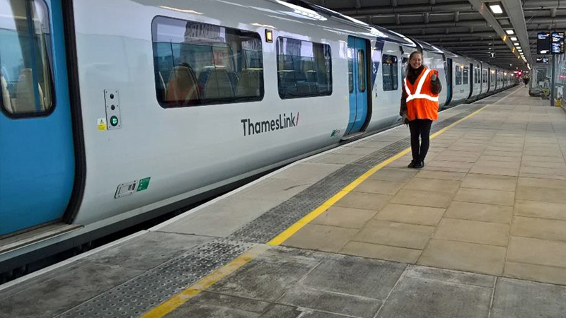 Raised areas on platforms provide level boarding for passengers