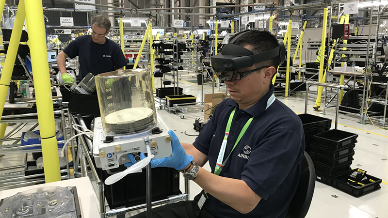 Assembling a ventilator at Airbus, where production line staff were trained using the Microsoft HoloLens (Credit: Airbus)