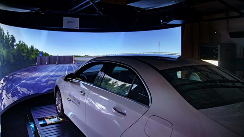 A car in the simulation suite at Millbrook Proving Ground. Hybrid techniques are blending physical and virtual testing (Credit: Millbrook)
