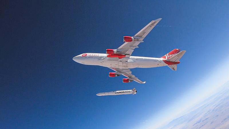 Virgin Orbit's LauncherOne is released in mid-air during an earlier drop test (Credit: Virgin Orbit/ Greg Robinson)