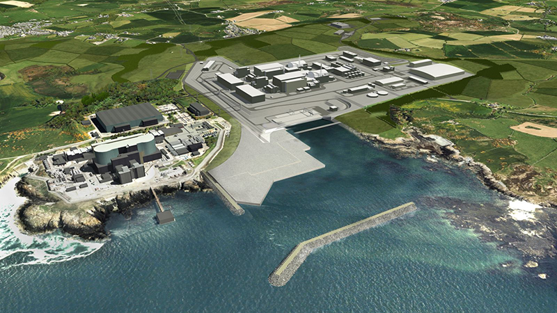 A computer-generated view of the planned Wylfa Newydd power station in Anglesey (Credit: Horizon Nuclear Power)