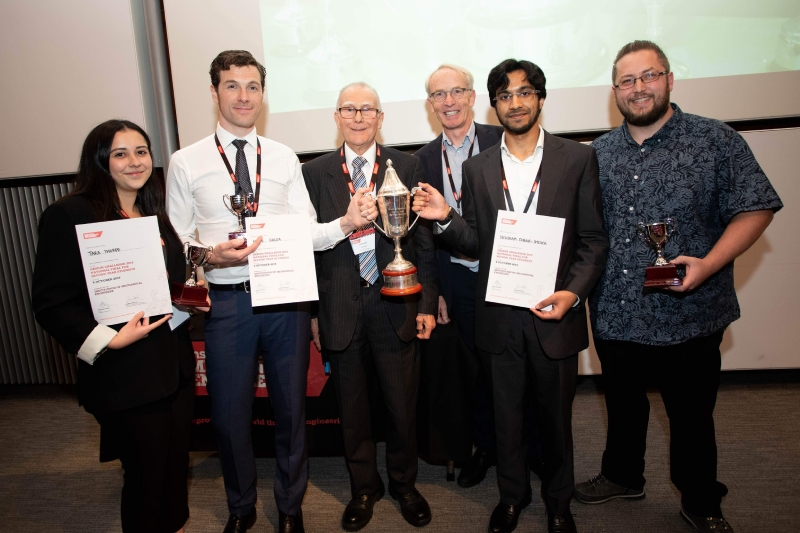 David Ball (third from left) with the 2019 Design Challenge winning team from Brunel University London