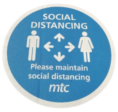 Reminder to maintain social distancing (source: MTC)