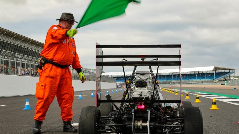 A Marshall waves the green flag